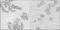Vector Linienzeichnung von Blumen-40 (Wasser-, Iris)