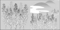 L¨ªnea de dibujo de vectores de flores-35 (la coliflor, las nubes)