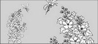 Vector Linienzeichnung Blumen -15