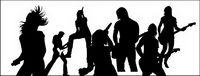 Live-Auff��hrungen von Musik des K��nstlers Silhouetten Vektor Material