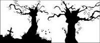 Vector Gräber und Bäume