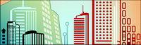 Vector lignes compos�� de hauts immeubles de mat��riel