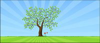 Vector Blume Bäume Rasen Material