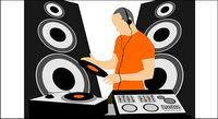 DJ de m¨²sica vector material
