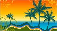 Vector Muster Meer und Palmen