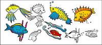 Verschiedene Cartoon-Fisch