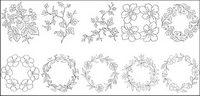 Flower Art der Zeichnung Vektordiagramm-6