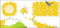Or jaune des fleurs et des papillons