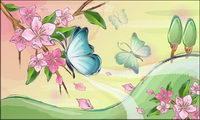 des fleurs et des papillons