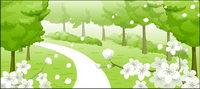 Blumen, Sackgasse, Bäume Vektor