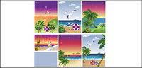 Strand, Strand, Möwen, Kokos-, Getränke