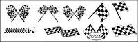 Noir et blanc, des drapeaux �� damier de course vecteur mat��riel