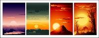 hermoso paisaje de la puesta del sol