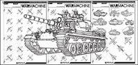 Linienzeichnung Kampfjets und Panzer