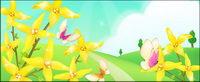 Die Umgebung von Blumen und Schmetterlingen