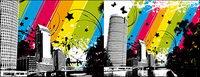 Ville de couleur vecteur mat��riel