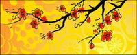 Estilo de la pintura china Ciruela vector material
