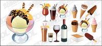 La cr��me glac��e et de boissons vecteur mat��riel
