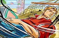 Ilustraciones de personas - de las playas, hamacas, los hombres