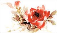 Rose Aquarell Stil layered psd