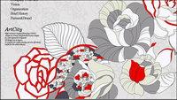 Peint �� la main des roses psd dessin effets couches mat��riau