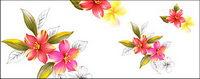 Fleurs peintes �� la main en couche mat��riel psd-8