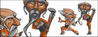 Comic-Stil des Kung Fu ältere Menschen