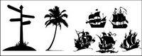 Las señales de tr¨¢fico, los ¨¢rboles de coco, vela icono de material