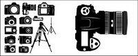 Noir et blanc appareil photo num��rique silhouettes vectorielles