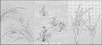 Vector Linienzeichnung von Blumen-48 (Blumen und Gras)