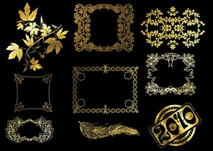 Link to12 gold lace pattern vector material