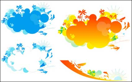 Link toColorful beach vector material