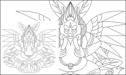 Link toLijiang naxi god of big bird vector material