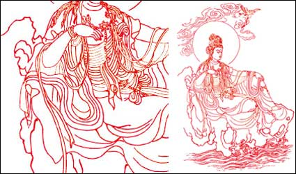 Link toGuanyin bodhisattva line drawing vector material