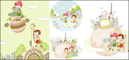 Link toTravel theme dream children painting vector material