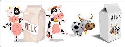 Link toCartoon cow milk cartons and vector material