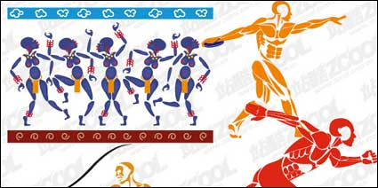 Link to4 sports figures vector material