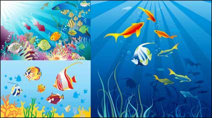 Link toBeautiful underwater world vector material