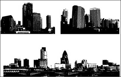 Link toBlack and white city building vector material