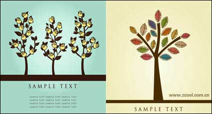 Link toLovely flower tree vector material