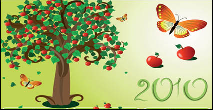 Link toButterfly theme of the 2010 calendar template vector tree material