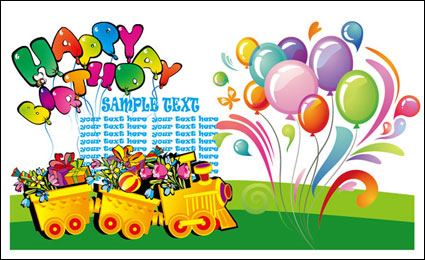 Link toHappy birthday theme vector of material