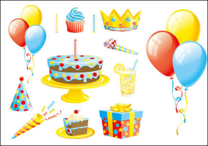 Link toThe balloon cake gift ribbons vector of material