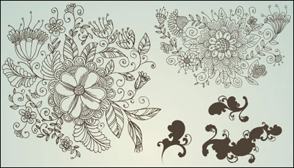 Link toLine-drawing flower pattern vectors of material