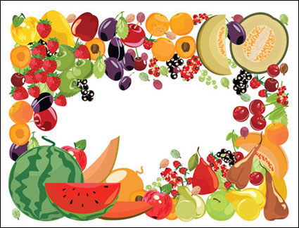 Link to2 fruit border vector