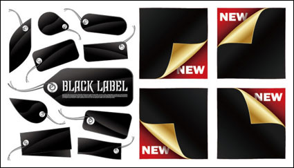 Link toBlack tags and stickers vector material