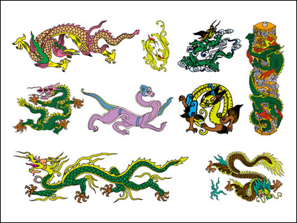 Link toChinese classical dragon seven of vector material