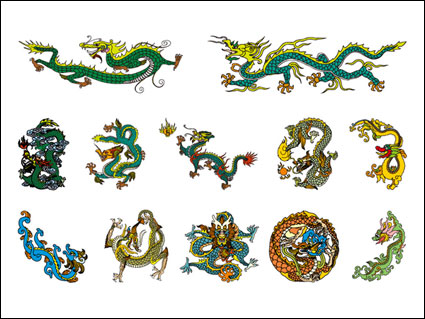 Link toChinese classical dragon vector material of 4