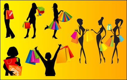 Link toVector silhouettes of women shopping