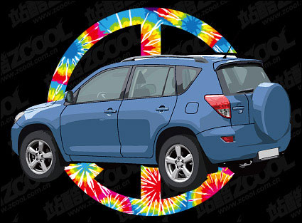 Link toCars and anti-war signs vector material